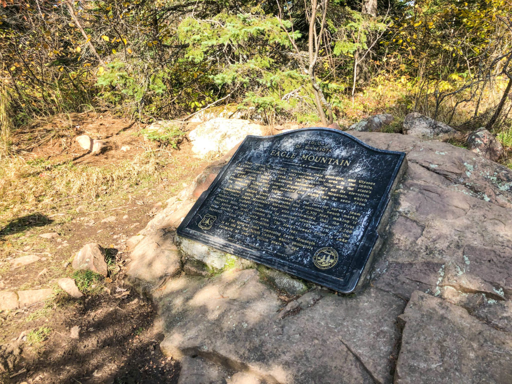 Plaque marking the top of Eagle Mountain