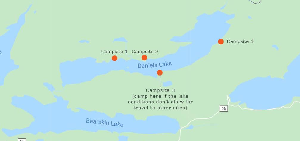 Daniels Lake Map + Winter BWCAW Camping Sites